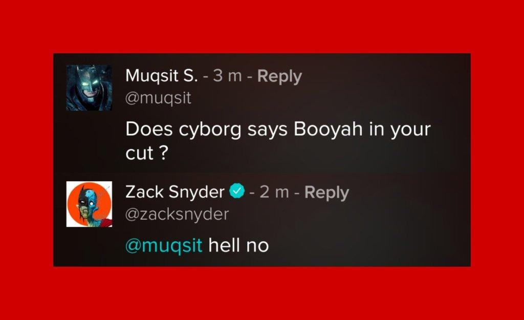 "Cyborg/Victor Stone (Ray Fisher) no dice ""Booyah!"" en Zack Snyder's Justice League (2021). Imagen: Bruised Wayne Twitter (@CruelFilm)."