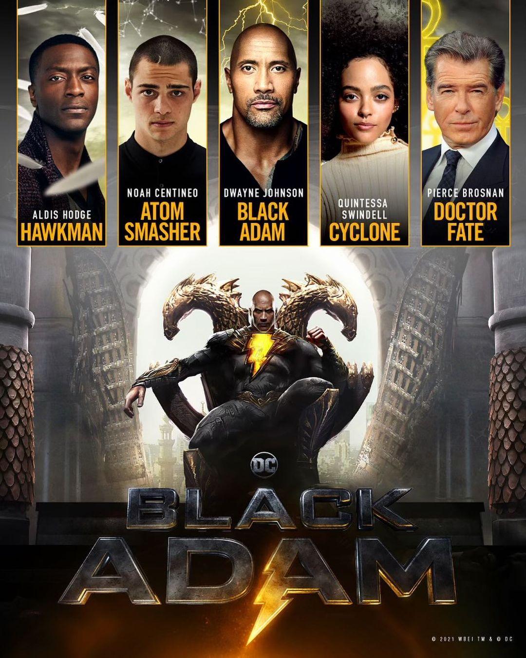 El elenco confirmado de Black Adam (TBD). Imagen: Dwayne Johnson Instagram (@therock).