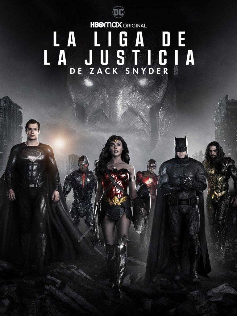 Superman (Henry Cavill), Cyborg (Ray Fisher), Wonder Woman (Gal Gadot), Flash (Ezra Miller), Batman (Ben Affleck), Aquaman (Jason Momoa) y Darkseid (Ray Porter) en un póster de Zack Snyder's Justice League (2021). Imagen: Warner En Casa Twitter (@WarnerEnCasa).