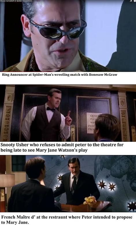 Los cameos de Bruce Campbell en la trilogía Spider-Man (2002-2004-2007). Imagen: 9gag.com