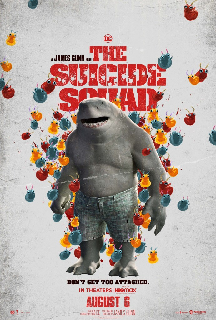 King Shark (voz de Sylvester Stallone/Steve Agee) en un póster de The Suicide Squad (2021). Imagen: impawards.com