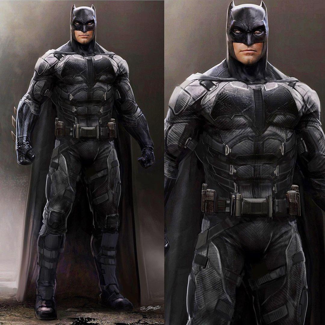 Batman/Bruce Wayne (Ben Affleck) en arte conceptual del Batitraje Táctico en Justice League (2017) por Jerad S. Marantz. Imagen: Jerad S. Marantz Instagram (@jsmarantz).