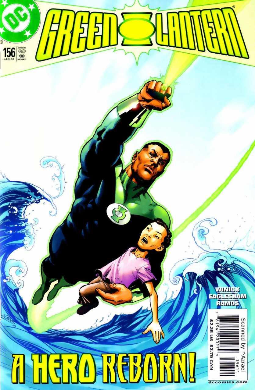 Green Lantern/John Stewart en la portada de Green Lantern #156 (enero de 2003). Arte por Ariel Olivetti. Imagen: Comic Vine