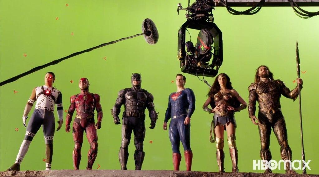 Cyborg (Ray Fisher), Flash (Ezra Miller), Batman (Ben Affleck), Superman (Henry Cavill), Wonder Woman (Gal Gadot) y Aquaman (Jason Momoa) en Zack Snyder's Justice League (2021). Imagen: Art of VFX Twitter (@ArtofVFX).