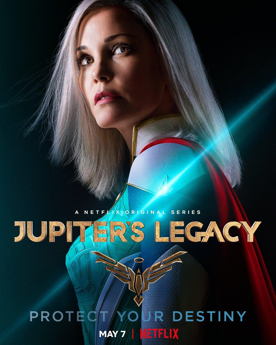 Grace Sampson/Lady Liberty (Leslie Bibb) en un póster de Jupiter's Legacy. Imagen: Millarworld Twitter (@mrmarkmillar).