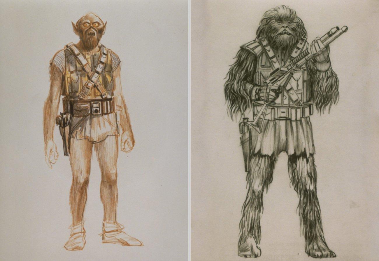 Chewbacca en arte conceptual de Star Wars (1977) por Ralph McQuarrie (1929-2012). Imagen: Joseph Gordon-Levitt Twitter (@hitRECordJoe).