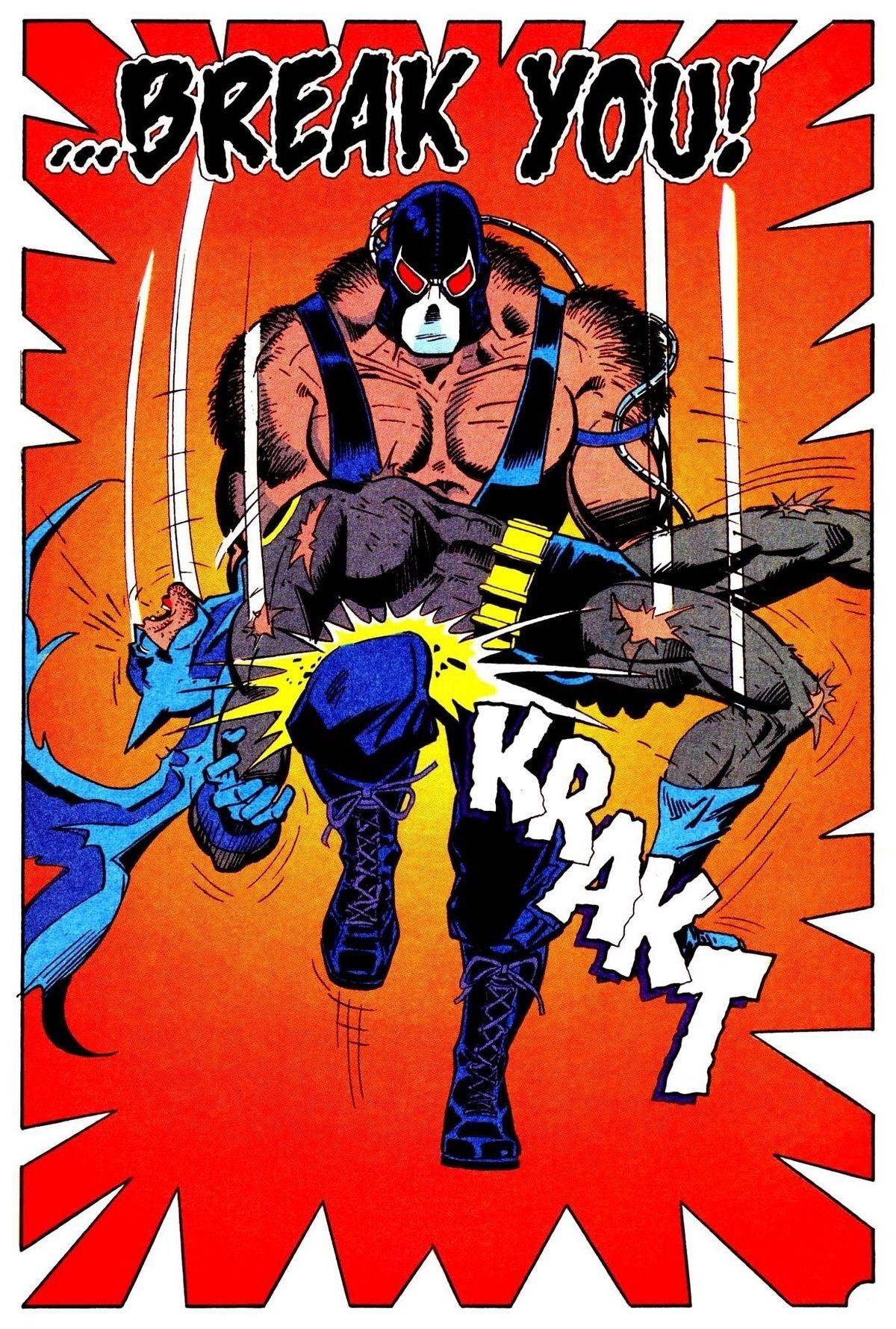Bane rompiéndole la espalda a Batman/Bruce Wayne en Batman #497 (julio de 1993). Arte por Jim Aparo. Imagen: pinterest.com