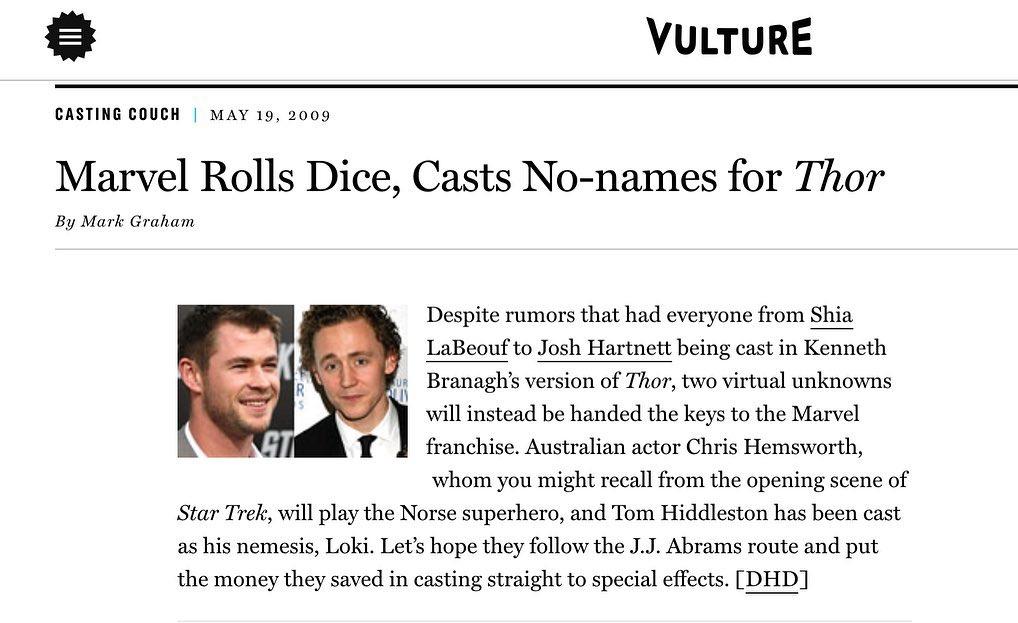 Artículo de Vulture (19 de mayo de 2009) sobre Chris Hemsworth y Tom Hiddleston en Thor (2011). Imagen: Chris Hemswoth Instagram (@chrishemwworth).