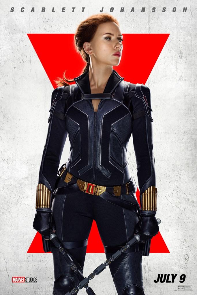 Natasha Romanoff/Black Widow (Scarlett Johansson) en un póster de Black Widow (2021). Imagen: impawards.com
