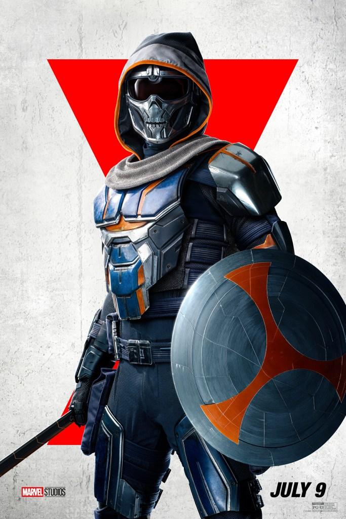 Taskmaster en un póster de Black Widow (2021). Imagen: impawards.com