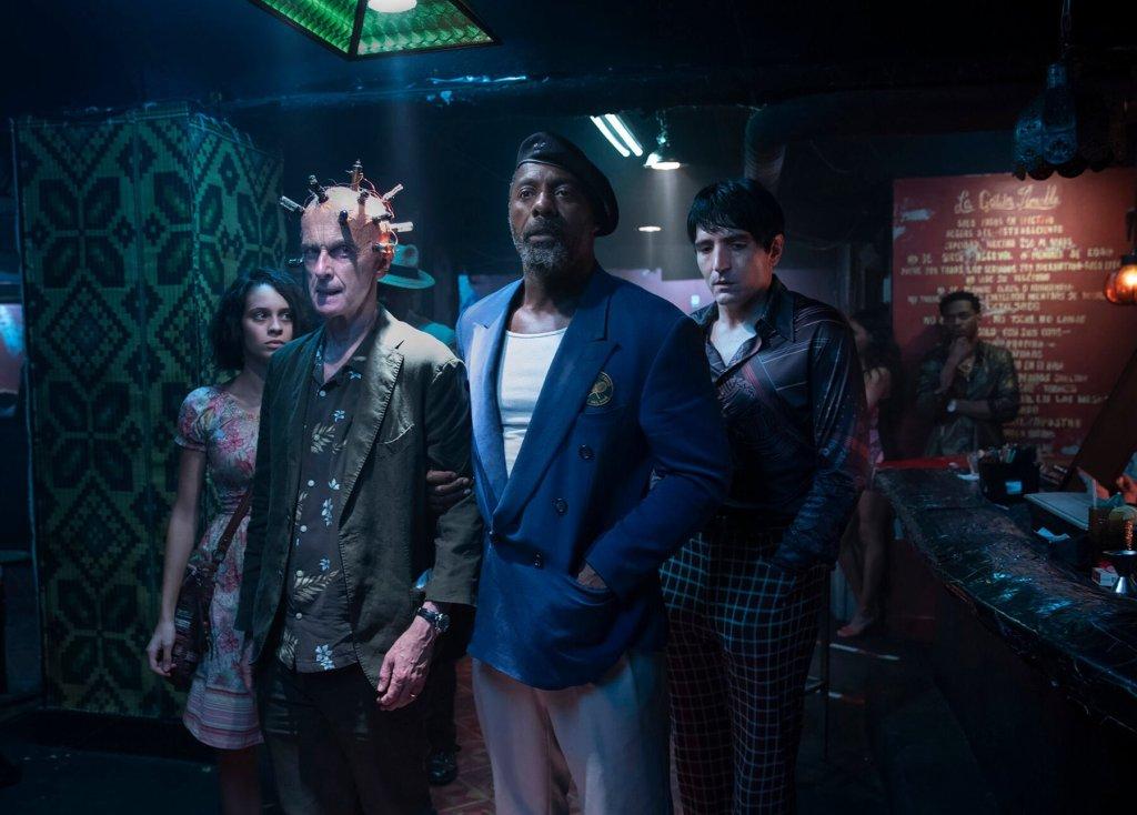 Ratcatcher 2 (Daniela Melchoir), The Thinker (Peter Capaldi), Bloodsport (Idris Elba) y Polka-Dot Man (David Dastmalchian) en The Suicide Squad (2021). Imagen: DC_Cinematic Reddit