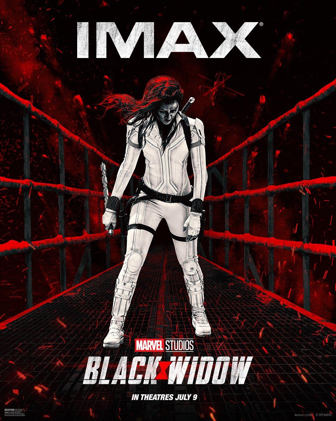 Póster IMAX de Black Widow (2021). Imagen: IMAX Twitter (@IMAX).