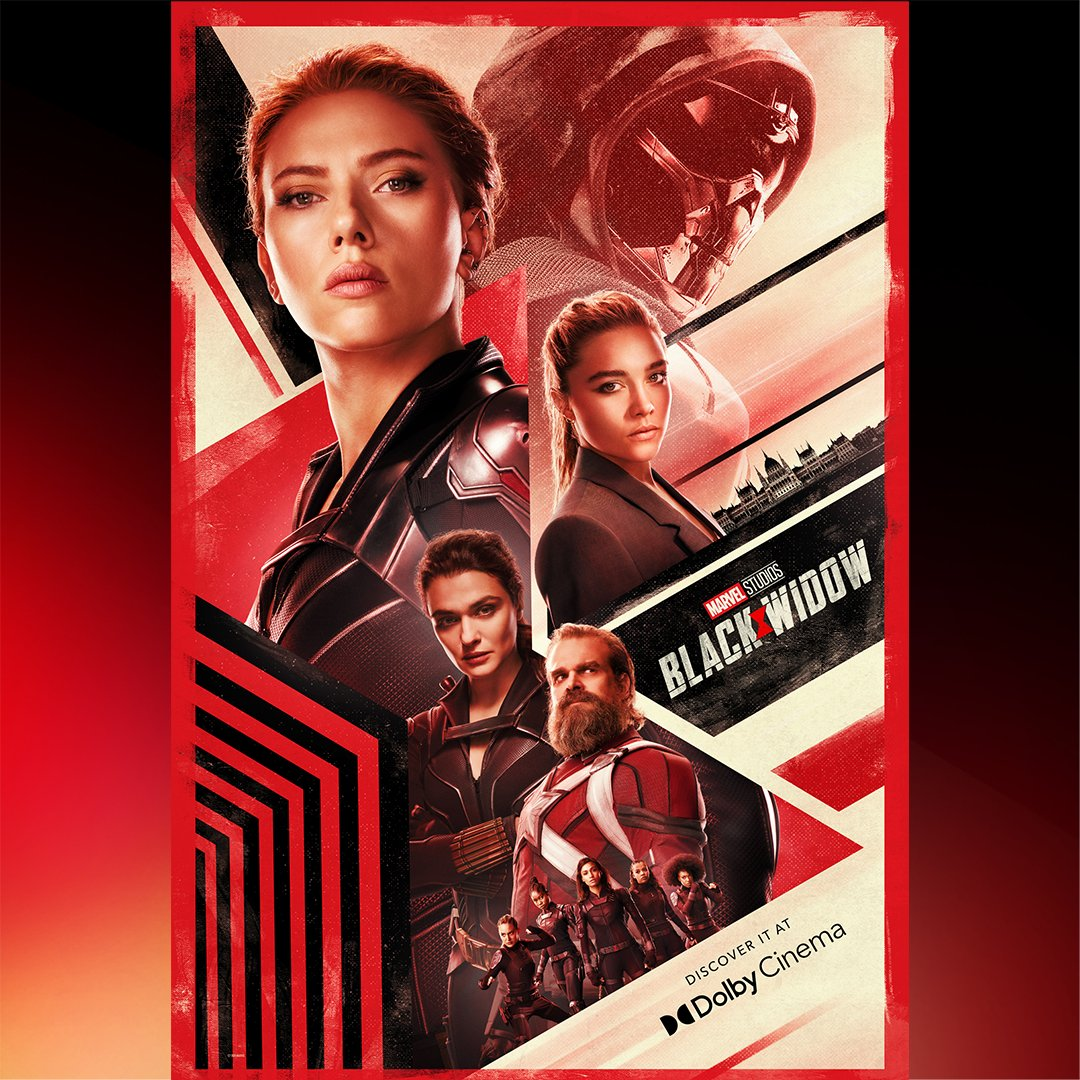 Póster Dolby Cinema de Black Widow (2021). Imagen: Dolby Twitter (@Dolby).