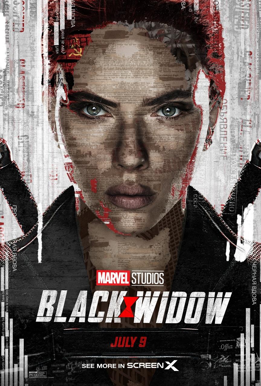 Póster ScreenX USA de Black Widow (2021). Imagen: screenxusa Twitter (@screenxusa).