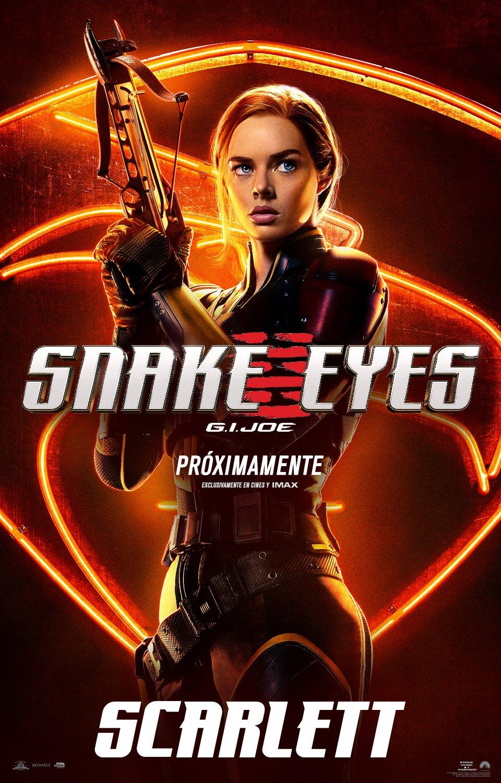 Scarlett (Samara Weaving) en un póster en español de Snake Eyes: G.I. Joe Origins (2021). Imagen: Paramount Pictures Mexico Twitter (@ParamountMexico).