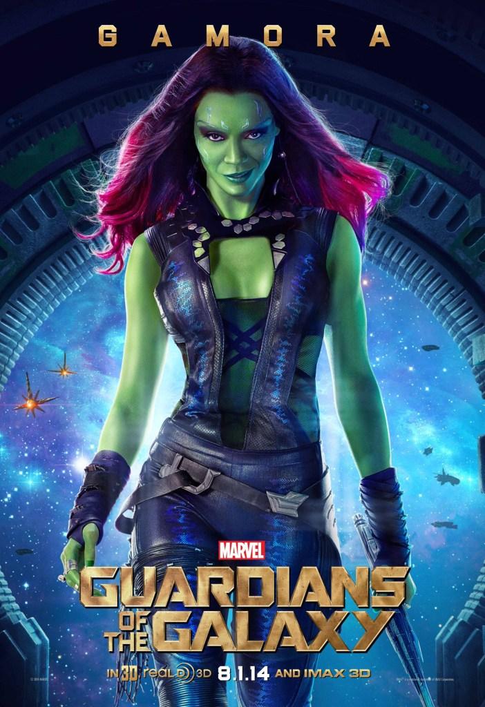 Gamora (Zoë Saldana) en un póster promocional de Guardians of the Galaxy (2014). Imagen: impawards.com