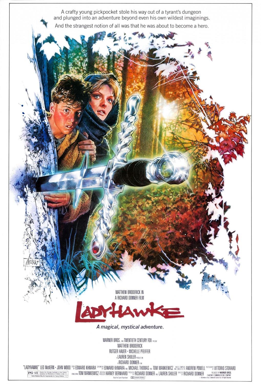 Póster de Ladyhawke (1985) por Drew Struzan. Imagen: Drew Struzan (@DrewStruzan).