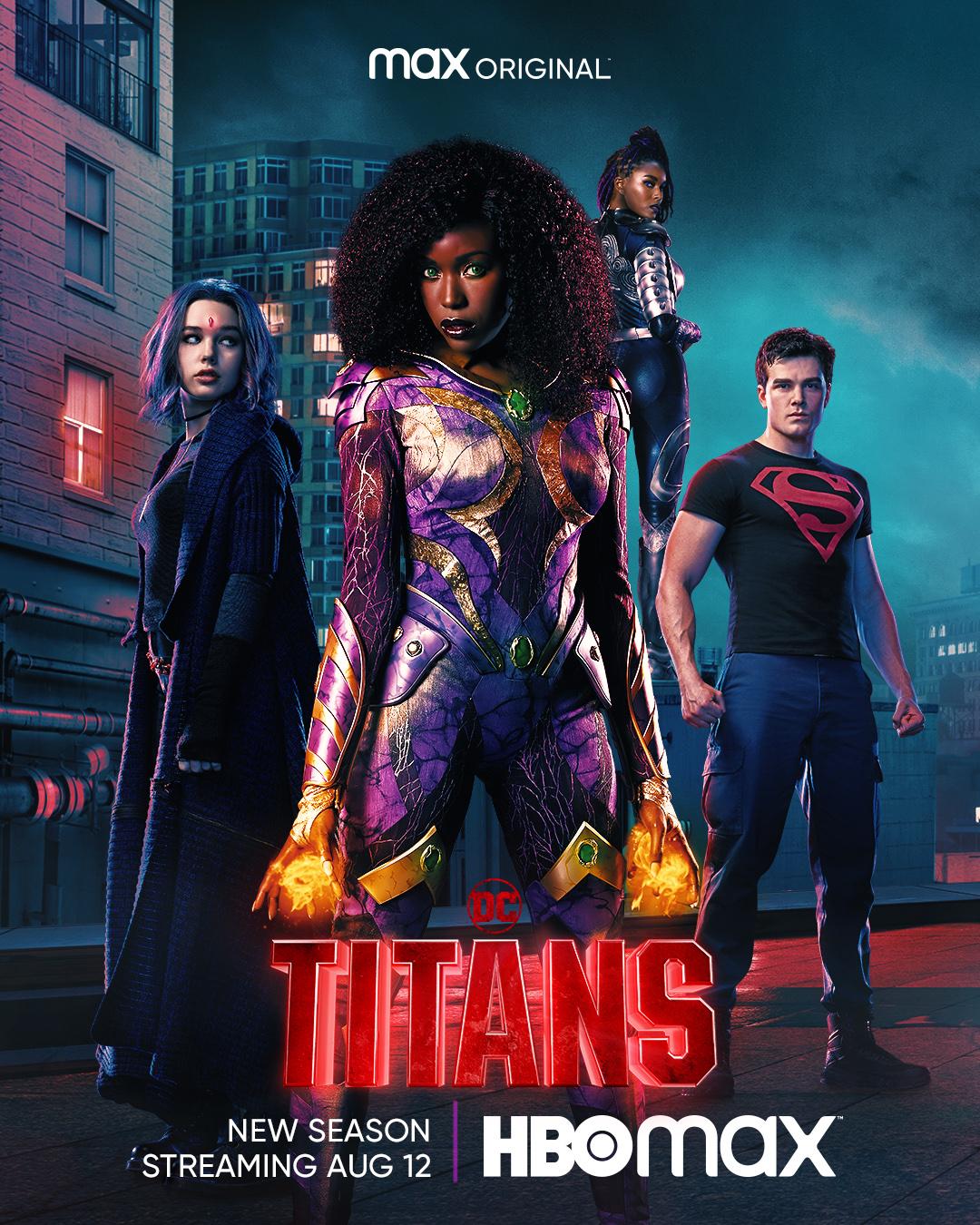 Rachel Roth/Raven (Teagan Croft), Koriand'r/Kory Anders/Starfire (Anna Diop), Komand'r/Blackfire (Damaris Lewis) y Kon-El/Conner Kent/Superboy (Joshua Orpin) en un póster promocional de la temporada 3 de Titans. Imagen: DC Titans on Max Twitter (@DCTitans).