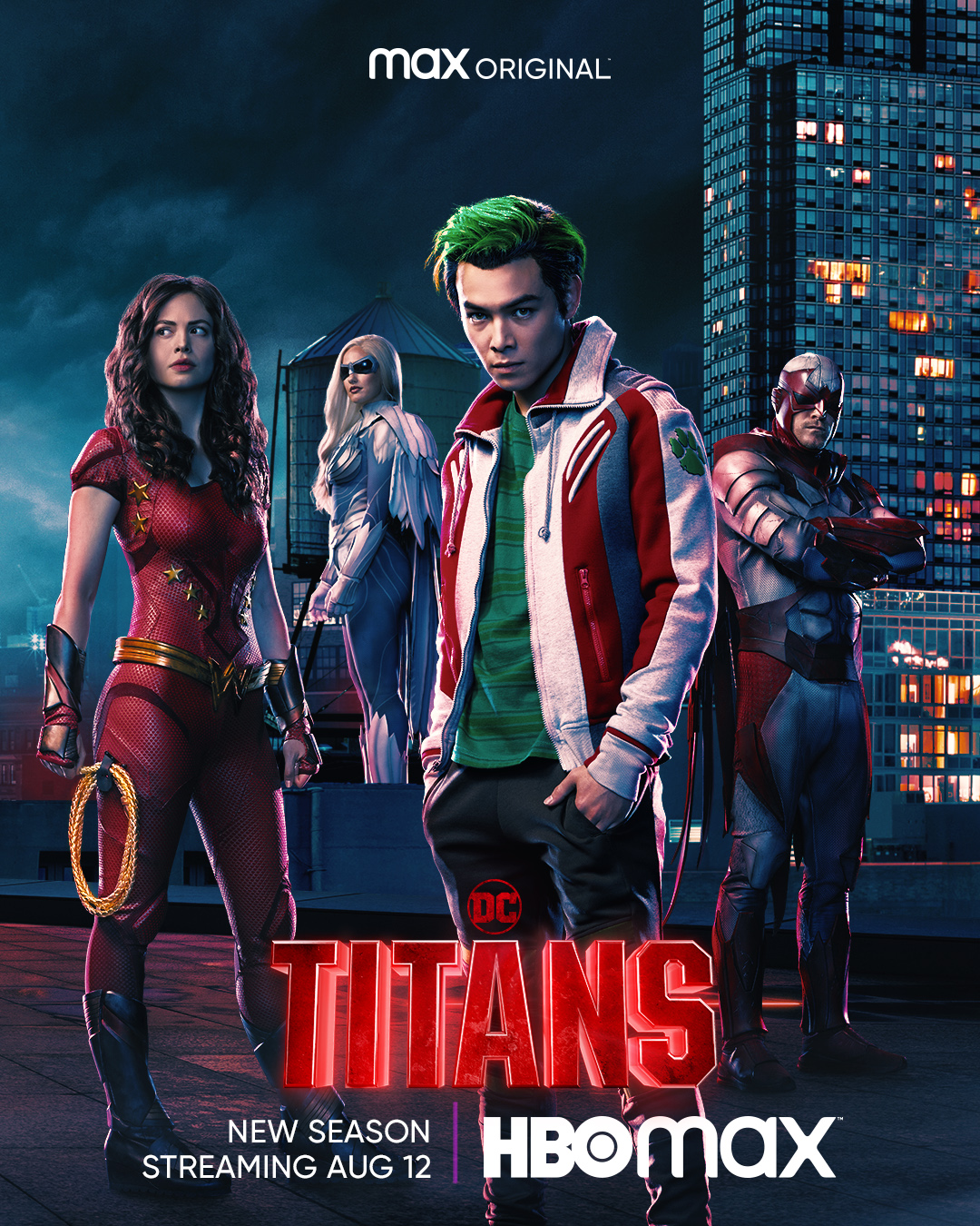 "Donna Troy/Wonder Girl (Conor Leslie), Dawn Granger/Dove (Minka Kelly), Garfield  ""Gar"" Logan/Beast Boy (Ryan Potter) y Hank Hall/Hawk (Alan Ritchson) en un póster promocional de la temporada 3 de Titans. Imagen: DC Titans on Max Twitter (@DCTitans)."