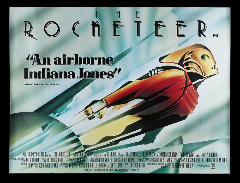 Póster británico de The Rocketeer (1991). Arte por John Mattos. Imagen: Prop Store Auction