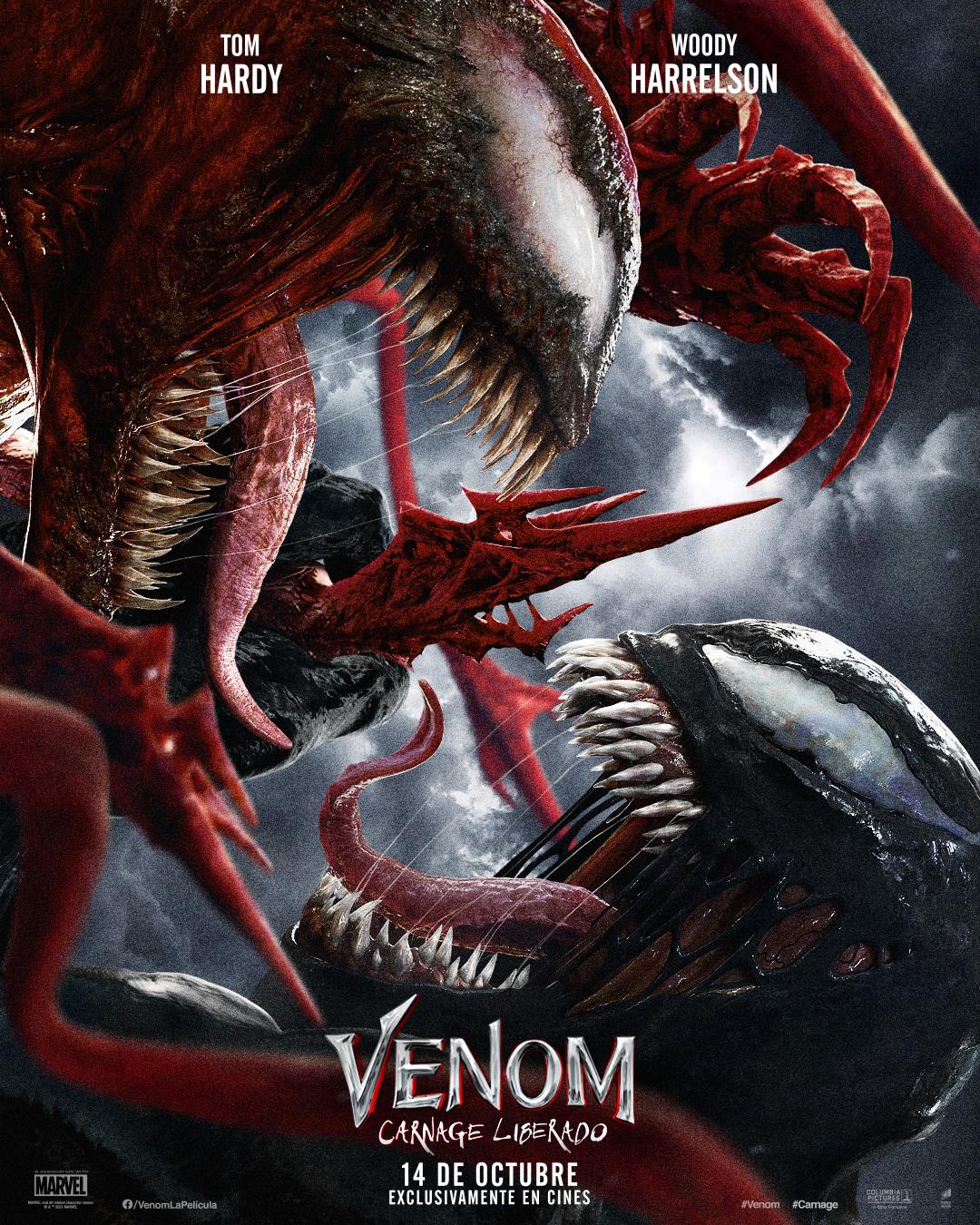 Póster en español de Venom: Let There Be Carnage (2021). Imagen: SonyPicturesMX Twitter (@SonyPicturesMX).