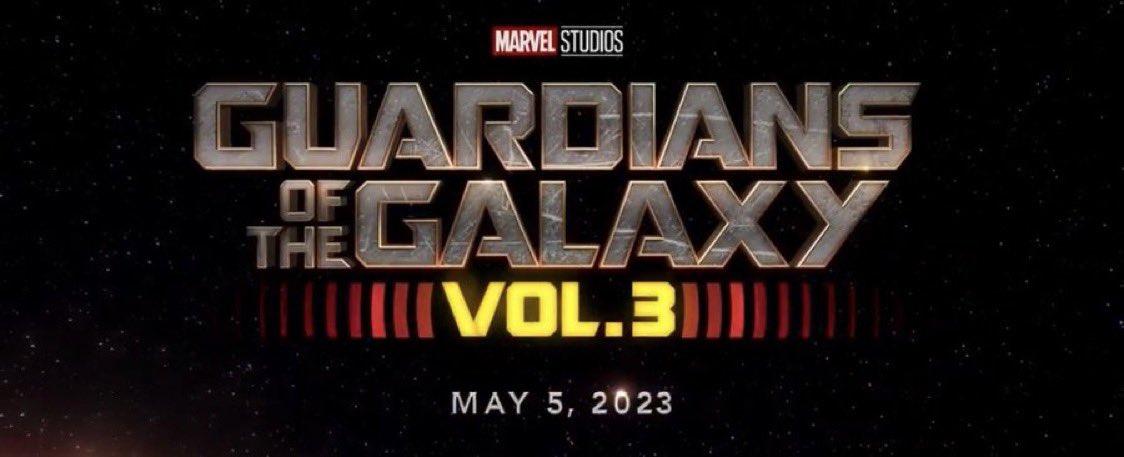 Logotipo y la fecha de estreno de Guardians of the Galaxy Vol. 3 (2023), Imagen: James Gunn Twitter (@JamesGunn).