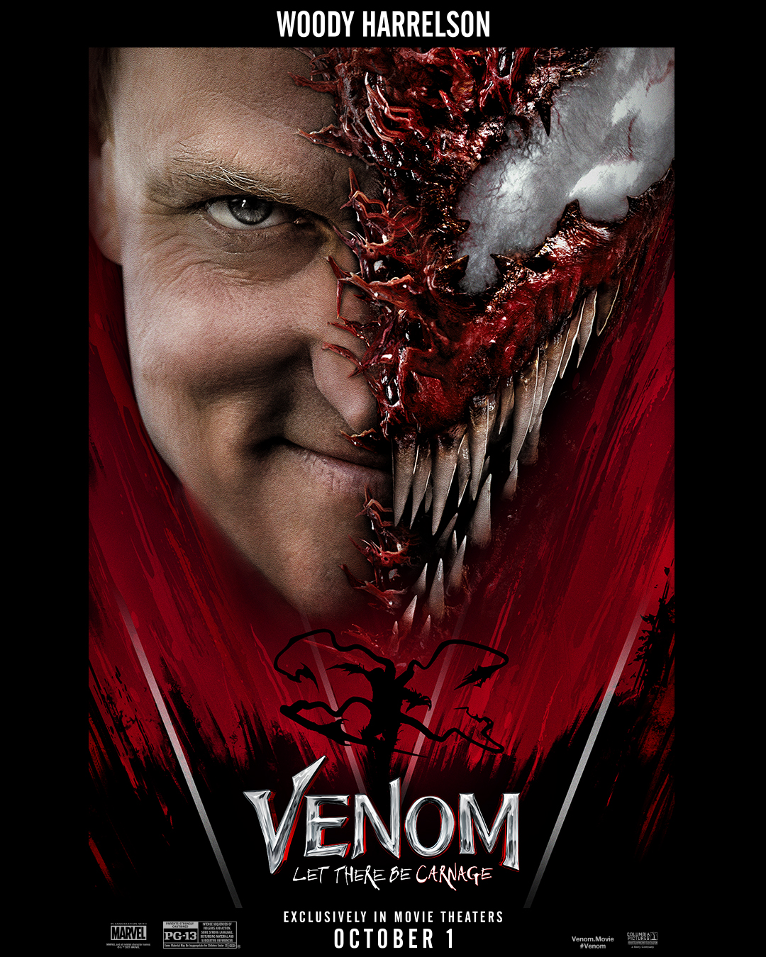 Cletus Kasady/Carnage (Woody Harrelson) en póster de Venom: Let There Be Carnage (2021). Imagen: Sony Pictures Twitter (@SonyPictures).