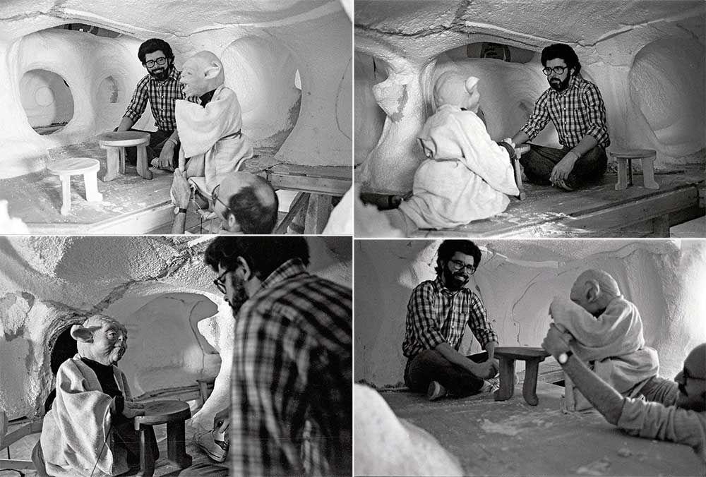 George Lucas y Frank Oz como el Maestro Yoda en el set de Star Wars: Episode V – The Empire Strikes Back  (1980). Imagen: pinterest.com