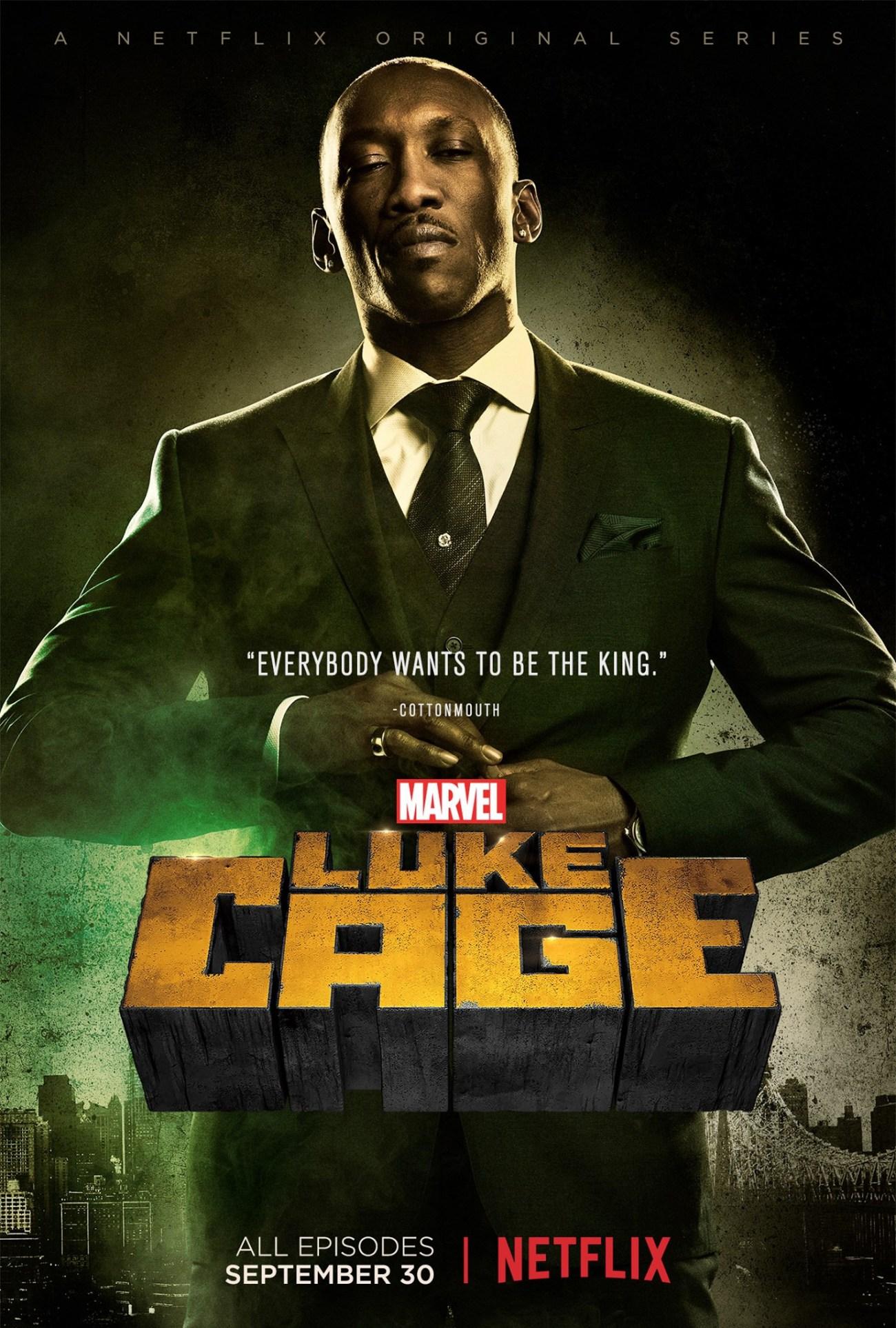 "Cornell ""Cottonmouth"" Stokes (Mahershala Ali) en la temporada 1 de Luke Cage (2015-2018). Imagen: impawards.com"