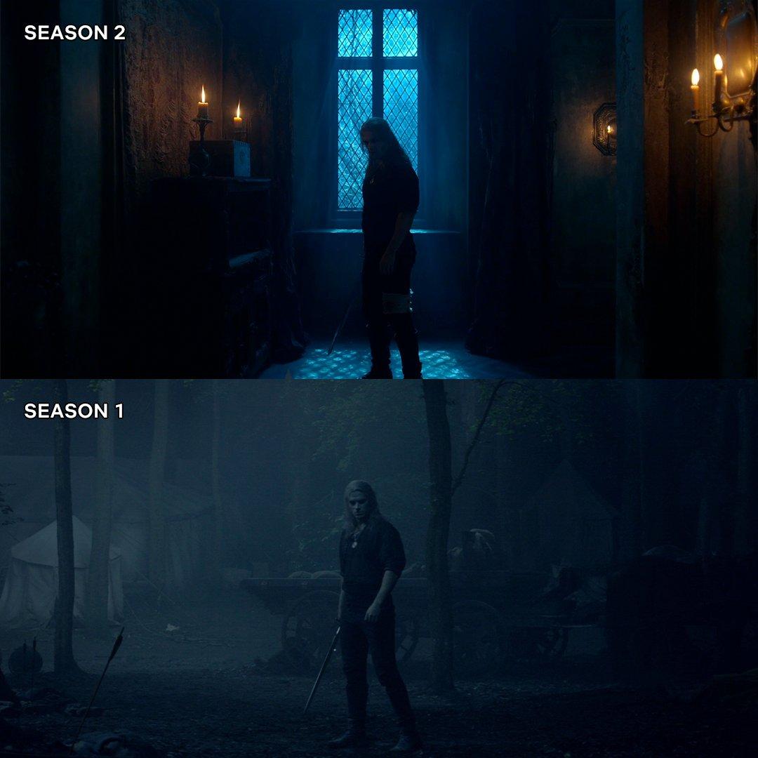 Geralt de Rivia (Henry Cavill) en la temporada 2 y la temporada 1 de The Witcher. Imagen: Netflix Geeked Twitter (@NetflixGeeked).