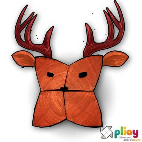 Marionnette Cerf Cocotte en papier à imprimer - Les loisirs créatifs Pliay
