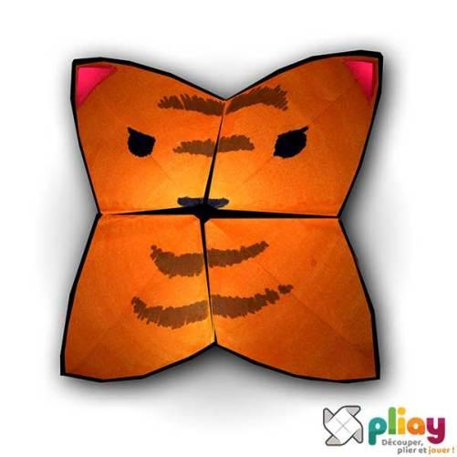 Marionnette Tigre Cocotte en papier à imprimer - Les loisirs créatifs Pliay