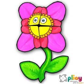 Marionnette Fleur Cocotte en papier à imprimer - Les loisirs créatifs Pliay