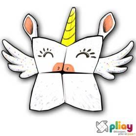 Marionnette Licorne Cocotte en papier à imprimer - Les loisirs créatifs Pliay