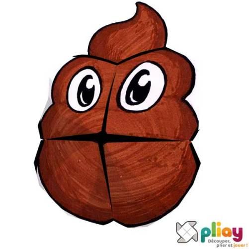 Marionnette Emoji Caca Cocotte en papier à imprimer - Les loisirs créatifs Pliay