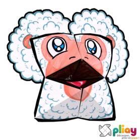 Marionnette Mouton Cocotte en papier à imprimer - Les loisirs créatifs Pliay