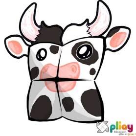 Marionnette Vache Cocotte en papier à imprimer - Les loisirs créatifs Pliay