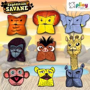Marionnettes en papier d'animaux de la savane