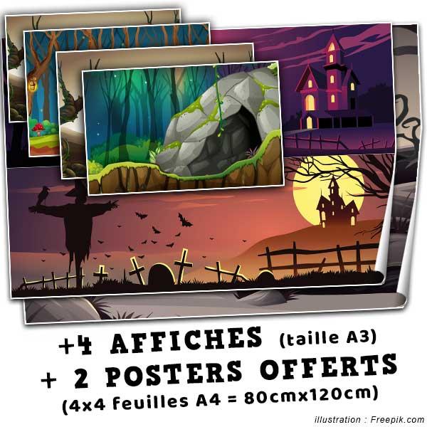 Offert dans ce pack : 4 affiches de taille A3 + 2 posters de 80x120cm