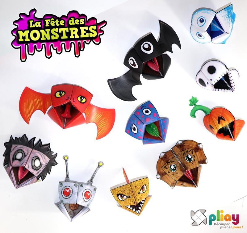 """Les marionnettes pliées du pack """"La Fête des Monstres - spécial Halloween"""" de Pliay"""