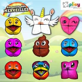 Marionnettes en papier avec Licorne et Emoji