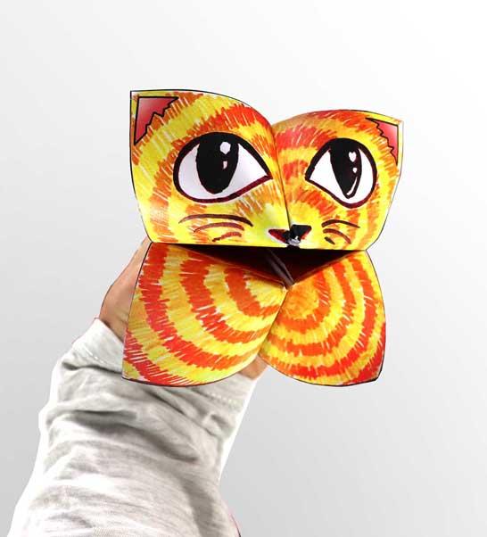 Faire une cocotte en papier marionnette originale - étape finale