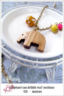 NA0044 - 'elephant can dribble too!' necklace