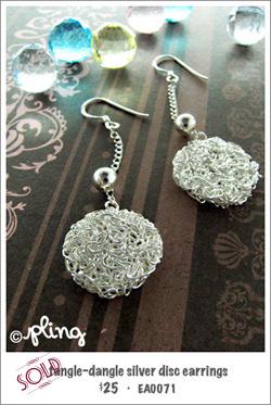 EA0071 - tangle-dangle silver disc earrings