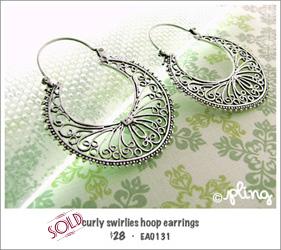 EA0131 - curly swirlies hoop earrings