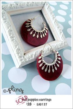 EA0137 - red poppies earrings