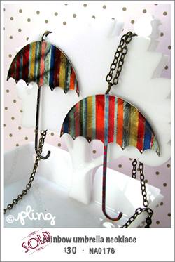 NA0176 - rainbow umbrella necklace