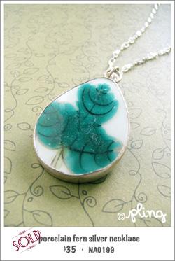 NA0199 - porcelain fern silver necklace