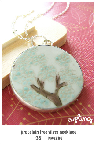 NA0200 - porcelain tree silver necklace