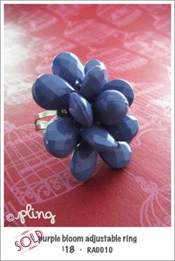 RA0010 - purple bloom adjustable ring